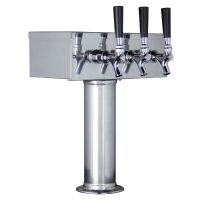 Kegco TTOW-3F-SS Polished Stainless Steel T-Style 3 Faucet Draft Beer Tower - 3 Inch Column