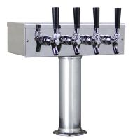 Kegco TTOW-4F-SS Polished Stainless Steel T-Style 4 Faucet Draft Beer Tower - 3 Inch Column