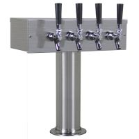 Kegco TTOW-4F-BRUSH T-Style Draft Beer Tower - Brushed Stainless Steel - 4 Faucet 3 Inch Column